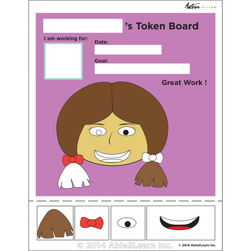 photograph relating to Token Board Printable identified as Lady Visible Token Board: ABA Products